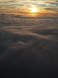 OVER ATLANTEREN: Solnedganger fra flysetet er noe helt spesielt.