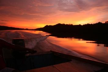 BRUNEI: I 2011 ble det elvesafari i sultanatet Brunei på Borneo. Ganske spektakulær solnedgang.